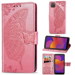 Embossing Mandala Flower Butterfly Leather Wallet Case for Huawei Y5p - Pink