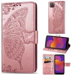 Embossing Mandala Flower Butterfly Leather Wallet Case for Huawei Y5p - Rose Gold
