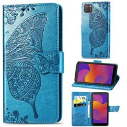 Embossing Mandala Flower Butterfly Leather Wallet Case for Huawei Y5p - Blue