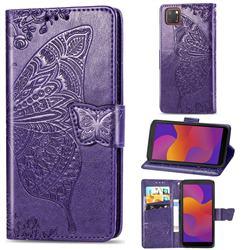 Embossing Mandala Flower Butterfly Leather Wallet Case for Huawei Y5p - Dark Purple