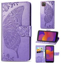 Embossing Mandala Flower Butterfly Leather Wallet Case for Huawei Y5p - Light Purple