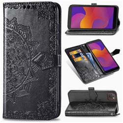 Embossing Imprint Mandala Flower Leather Wallet Case for Huawei Y5p - Black