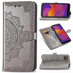 Embossing Imprint Mandala Flower Leather Wallet Case for Huawei Y5p - Gray