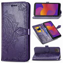 Embossing Imprint Mandala Flower Leather Wallet Case for Huawei Y5p - Purple