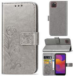 Embossing Imprint Four-Leaf Clover Leather Wallet Case for Huawei Y5p - Grey