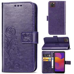 Embossing Imprint Four-Leaf Clover Leather Wallet Case for Huawei Y5p - Purple