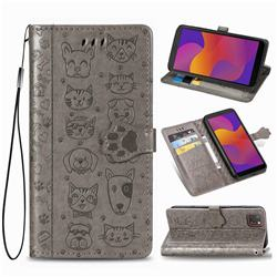 Embossing Dog Paw Kitten and Puppy Leather Wallet Case for Huawei Y5p - Gray
