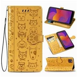 Embossing Dog Paw Kitten and Puppy Leather Wallet Case for Huawei Y5p - Yellow