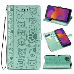 Embossing Dog Paw Kitten and Puppy Leather Wallet Case for Huawei Y5p - Green