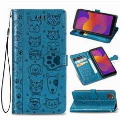 Embossing Dog Paw Kitten and Puppy Leather Wallet Case for Huawei Y5p - Blue