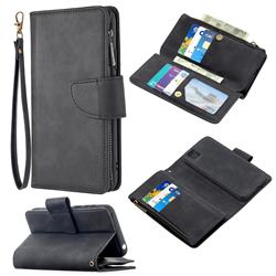 Binfen Color BF02 Sensory Buckle Zipper Multifunction Leather Phone Wallet for Huawei Y5p - Black