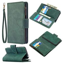 Binfen Color BF02 Sensory Buckle Zipper Multifunction Leather Phone Wallet for Huawei Y5p - Dark Green