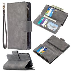Binfen Color BF02 Sensory Buckle Zipper Multifunction Leather Phone Wallet for Huawei Y5p - Gray