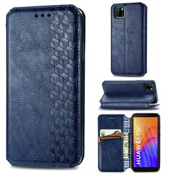 Ultra Slim Fashion Business Card Magnetic Automatic Suction Leather Flip Cover for Huawei Y5p - Dark Blue