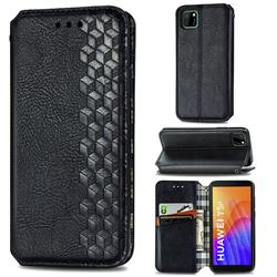 Ultra Slim Fashion Business Card Magnetic Automatic Suction Leather Flip Cover for Huawei Y5p - Black