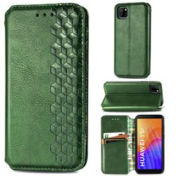 Ultra Slim Fashion Business Card Magnetic Automatic Suction Leather Flip Cover for Huawei Y5p - Green