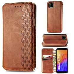 Ultra Slim Fashion Business Card Magnetic Automatic Suction Leather Flip Cover for Huawei Y5p - Brown