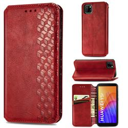Ultra Slim Fashion Business Card Magnetic Automatic Suction Leather Flip Cover for Huawei Y5p - Red