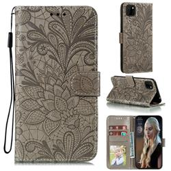 Intricate Embossing Lace Jasmine Flower Leather Wallet Case for Huawei Y5p - Gray