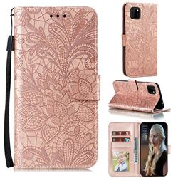 Intricate Embossing Lace Jasmine Flower Leather Wallet Case for Huawei Y5p - Rose Gold