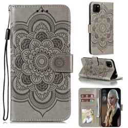 Intricate Embossing Datura Solar Leather Wallet Case for Huawei Y5p - Gray