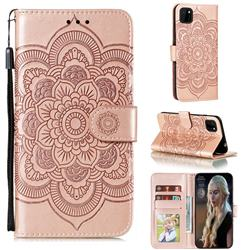Intricate Embossing Datura Solar Leather Wallet Case for Huawei Y5p - Rose Gold