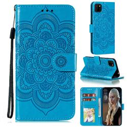 Intricate Embossing Datura Solar Leather Wallet Case for Huawei Y5p - Blue