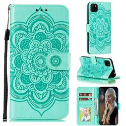 Intricate Embossing Datura Solar Leather Wallet Case for Huawei Y5p - Green