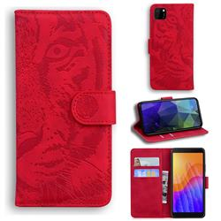 Intricate Embossing Tiger Face Leather Wallet Case for Huawei Y5p - Red