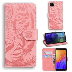 Intricate Embossing Tiger Face Leather Wallet Case for Huawei Y5p - Pink