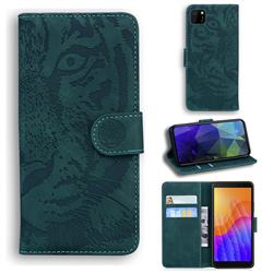 Intricate Embossing Tiger Face Leather Wallet Case for Huawei Y5p - Green