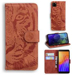 Intricate Embossing Tiger Face Leather Wallet Case for Huawei Y5p - Brown