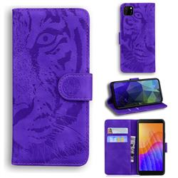 Intricate Embossing Tiger Face Leather Wallet Case for Huawei Y5p - Purple