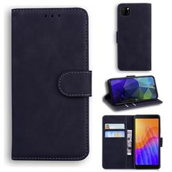 Retro Classic Skin Feel Leather Wallet Phone Case for Huawei Y5p - Black