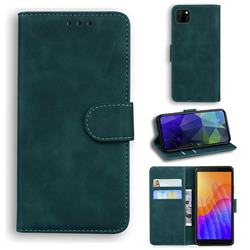 Retro Classic Skin Feel Leather Wallet Phone Case for Huawei Y5p - Green
