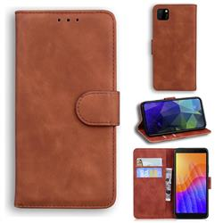 Retro Classic Skin Feel Leather Wallet Phone Case for Huawei Y5p - Brown