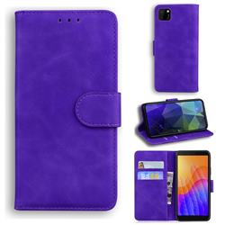 Retro Classic Skin Feel Leather Wallet Phone Case for Huawei Y5p - Purple