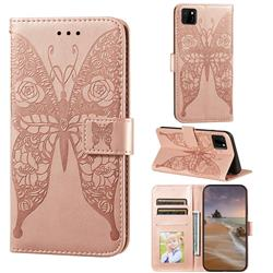 Intricate Embossing Rose Flower Butterfly Leather Wallet Case for Huawei Y5p - Rose Gold