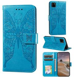 Intricate Embossing Rose Flower Butterfly Leather Wallet Case for Huawei Y5p - Blue