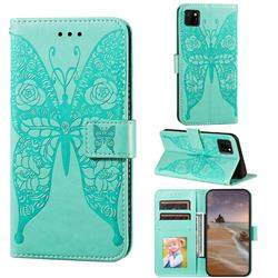 Intricate Embossing Rose Flower Butterfly Leather Wallet Case for Huawei Y5p - Green