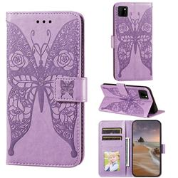 Intricate Embossing Rose Flower Butterfly Leather Wallet Case for Huawei Y5p - Purple