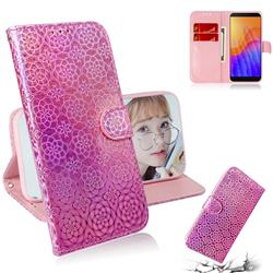 Laser Circle Shining Leather Wallet Phone Case for Huawei Y5p - Pink