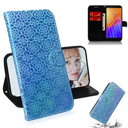 Laser Circle Shining Leather Wallet Phone Case for Huawei Y5p - Blue