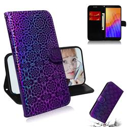 Laser Circle Shining Leather Wallet Phone Case for Huawei Y5p - Purple