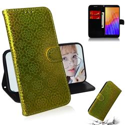 Laser Circle Shining Leather Wallet Phone Case for Huawei Y5p - Golden