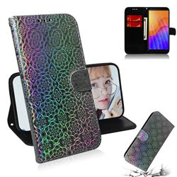 Laser Circle Shining Leather Wallet Phone Case for Huawei Y5p - Silver