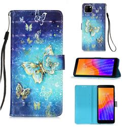 Gold Butterfly 3D Painted Leather Wallet Case for Huawei Y5p