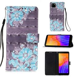 Blue Flower 3D Painted Leather Wallet Case for Huawei Y5p