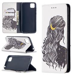 Girl with Long Hair Slim Magnetic Attraction Wallet Flip Cover for Huawei Y5p