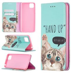 Hand Up Cat Slim Magnetic Attraction Wallet Flip Cover for Huawei Y5p